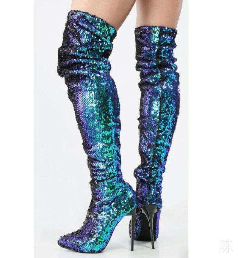 Damenl Overknee Stiefel Pailletten Spitz Super High Heel Stiletto Nachtclub Sexy