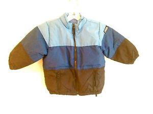 886a6dcd5 Details about Baby Gap Down Puffer Coat Blue   Navy Stripes Fleece Lined  Little Boys Sz 2 yrs