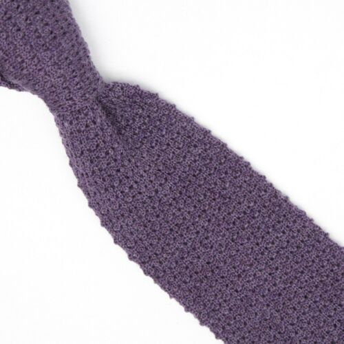 Manolo Costa Mens Wool Necktie Solid Purple Chunky Knit Square End Tie Italy
