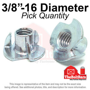 Tee Nuts 3 Prong 3//8-16 x 7//16 Thread Size: 3//8-16 Quantity: 100 Straight Barrel Barrel Height: 7//16 Zinc Plated Steel