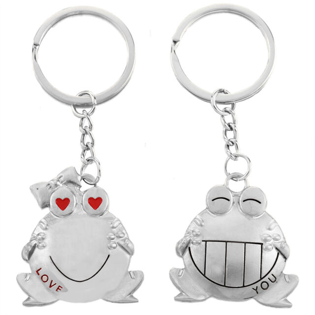 Romantic Big Mouth Frogs Couple Keychain Metal Boy Girl Lovers Key Chain Ring L6
