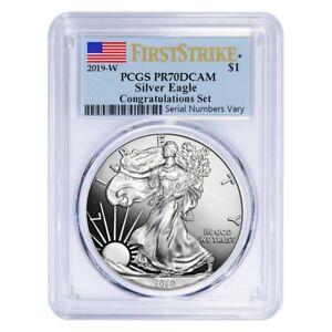 2019-W 1 oz Proof Silver American Eagle Congratulations Set PCGS PF 70 DCAM FS