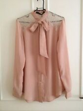Zara Nude Pink Contrast Lace Blouse Shirt Top With Bow Size M, Uk10