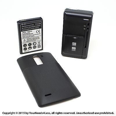 6800mAh Extended Battery for LG G3 D830 D851 Black Cover Dock Charger