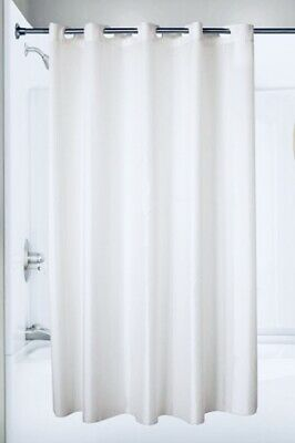 """Windowed Hookless Shower Curtain 77/"""" x 71/"""" Champagne Cream Colored"""