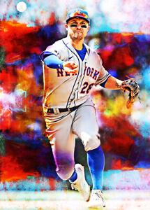 2021 J.D. Davis New York Mets 7/25 Art Blue ACEO Print Card By:Q