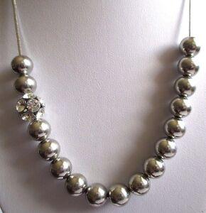 Collier Moderne Bijou Couleur Argent Perles Métal Et Cristaux Diamant 3523 Couleurs Fantaisie