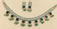 Green & Silver Elegant Crystal Jewelry Set - Necklace & Earrings