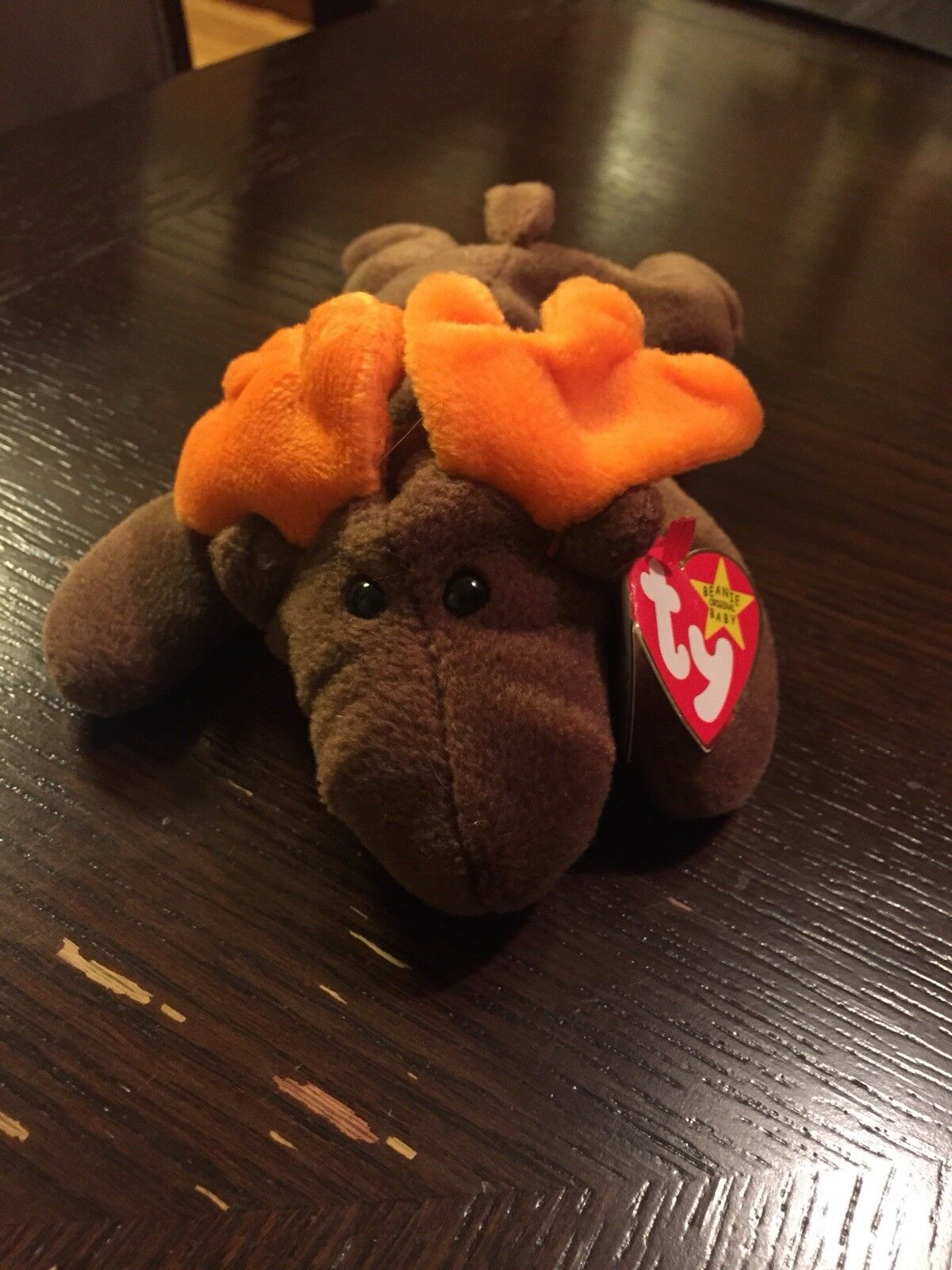 Ty chocolate beanie baby 1993. Brown with orange antlers