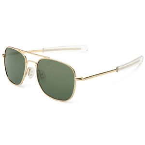 Mens Pilot Aviator UV Sunglasses Polarized 55mm Military Style Gold//Dark Green