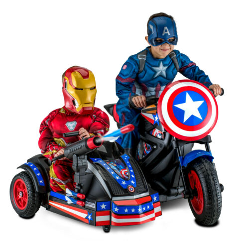 Captain America Motorcycle Ride-On Super Hero Car Toy Battery Power Wheels 12V