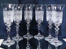 Crystal Glass Set of 6 Wine Champagne Flute European  Vintage  Cut 5 oz  Bohemia