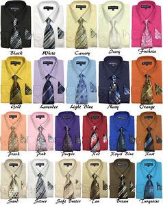 Nouveau Hommes Chemise Habillée Avec Assorti Cravate Et Mouchoir Set Sg-21b-afficher Le Titre D'origine Non Repassant