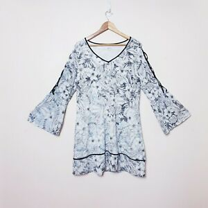 Table Eight Womens 14 White Black Floral Flowing Shift Dress Flared Sleeves