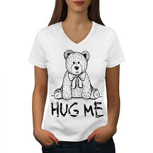 Wellcoda Hug Me Teddy Bear Womens V-Neck T-shirt, Nice & Graphic Design Tee