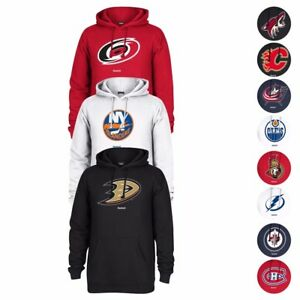NHL-Reebok-Team-Color-034-Jersey-Crest-034-Primary-Logo-Pullover-Fleece-Hoodie-Men-039-s
