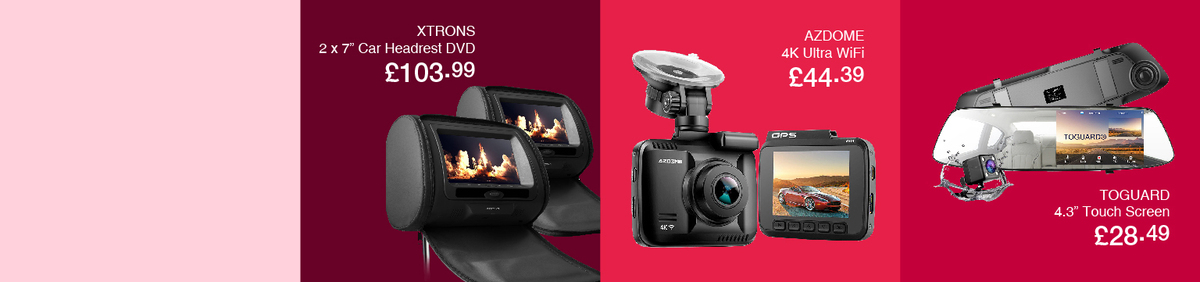 Shop event 20% off In-Car Tech from Emerging Brands Low cost Dash Cams with Free Postage.
