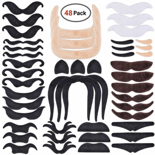48 Pcs Costume Beard Funny Fake False Moustache Stick On Tash Fancy Beard Party