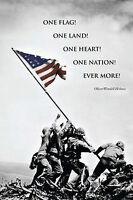 American Flag At Iwo Jima - Inspirational Quote Poster 24x36 World War Ii 36507