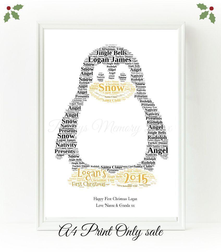 Penguin animale personalizzata Word Art Natale Natale Natale Regalo Di Compleanno Stampa Ricordo c4d12e