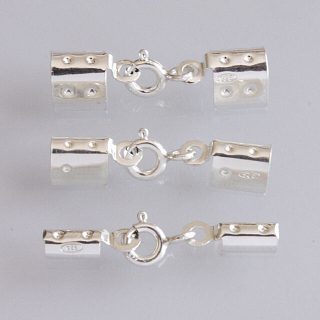 SET OF 925 STERLING SILVER FOLDING CRIMP ENDS WITH INTEGRAL BOLT RING CLASP