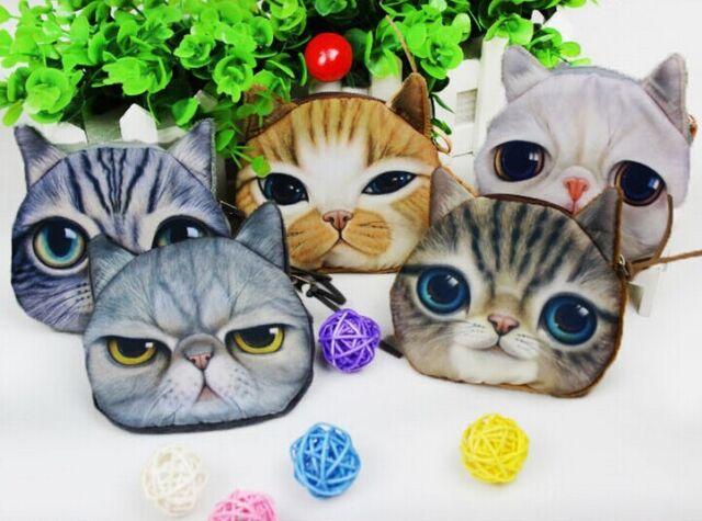 New Wholesale Kids Cute Cat Face Zipper Case Coin Purse Wallet Makeup Bag Pouch