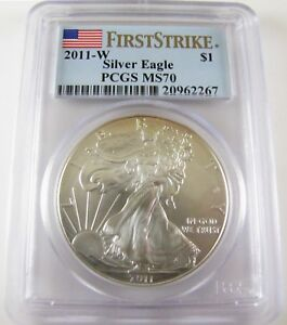 2011-W-Silver-Eagle-PCGS-MS70-034-Burnished-034-First-Strike