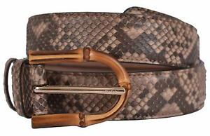 1c3a36422 New Gucci Women's 322957 Camel Brown Python Snakeskin Bamboo Buckle ...