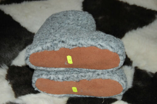 Mens Slippers Boots Sheep Leather Sole Fleece Sheep Skin GREY UK Stock