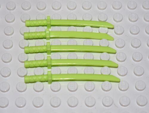 5x Lego Ninjago Waffe Zubehör Katana Schwert gelb grün leuchtgrün