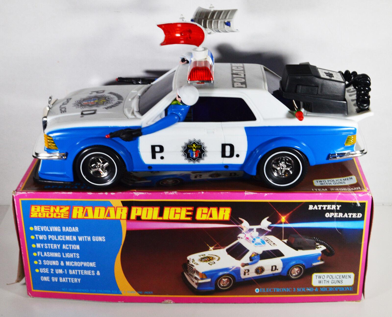 Jahr Radar Police voiture Spielzeug Mercedes 280 CE Policemen w  Guns Sirens Battery