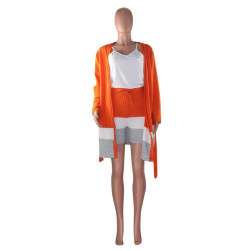 Fashion Women Solid Color Long Sleeves Colors Block Casual Club Short Pants 2pcs