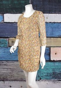 NEW-Ark-amp-Co-ModCloth-Yellow-Orange-Blue-Floral-Blue-Shirred-Dress-SMALL-S-NWT
