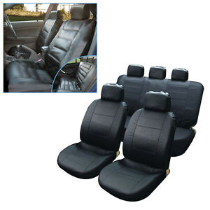 BLACK LEATHER LOOK CAR TAXI SEAT COVERS AIR BAG FRIENDLY