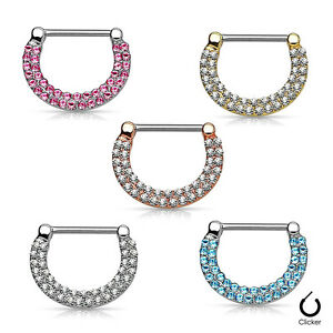 Nipple rings  Clickers Ion Plated 16ga or 14ga with Double Paved Crystals 1Pair