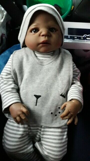 """23/"""" Black Reborn Baby Dolls Toddler Boy Full Body Silicone African American Doll"""