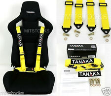 1 TANAKA UNIVERSAL YELLOW 4 POINT BUCKLE RACING SEAT BELT HARNESS 2""