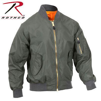 Enhanced Nylon Reversible MA-1 Flight Jacket Black or Sage Green Bomber