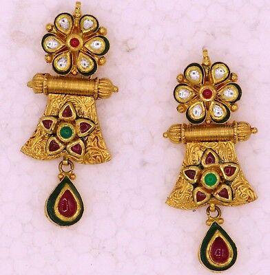 Silver Metal Oriental Bollywood Gipsy Earrings Jewelry Handmade India Rajasthan