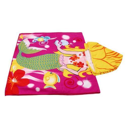 Hood Poncho Kids Character Towel Beach Pool Fun Hoodie Girl Bo Mermaid Shark DB