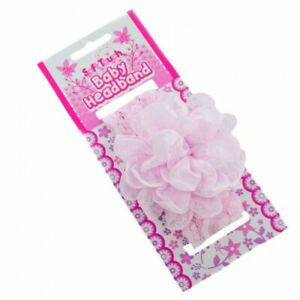 Baby Soft Touch Lace Headband Satin Flower gem 0-6 month white pink cream