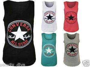 New-Womens-Vest-Top-Converse-Logo-Print-Ladies-Sleeveless-Racer-Muscle-T-Shirt