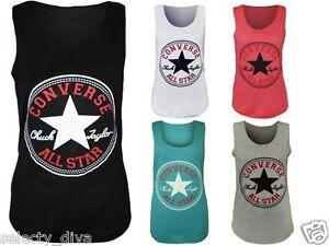 New-Womens-Vest-Top-Converse-Logo-Print-Ladies-Sleeveless-Racer-Muscle-T-Shirt