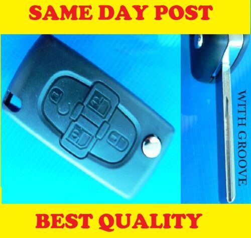 PEUGEOT1007 4 Button Remote FLIP KEY FOB CASE with groove blade Refurbish Repair