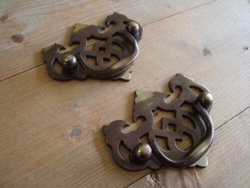 tiroir Poignée Laiton antique fretted poignée *** 1 paire arrière Fix placard *** porte