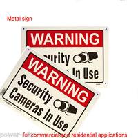 2 Outdoor Metal Sheet Sign Cctv Surveillance Dvr Security Camera Burglar Alarm