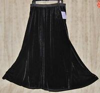 Hot In Hollywood So Pretty Black Stretch Velvet Skirt A-line Elastic Waist Lar