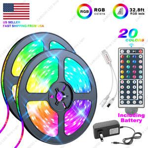 32-8-Feet-RGB-5050-Flexible-Led-Strip-Lights-SMD-44-Key-Remote-12V-DC-Power-Kit