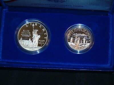 1986 Statue of Liberty PROOF 2 Coin Set w// Silver Dollar /& Half With Box /& COA