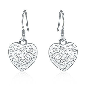 New-925-Sterling-Silver-Filled-Filigree-Love-Heart-Flower-Hook-Earrings-Stunning